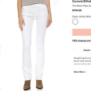 NWT Current Elliot The Stove Pipe White Jeans 27